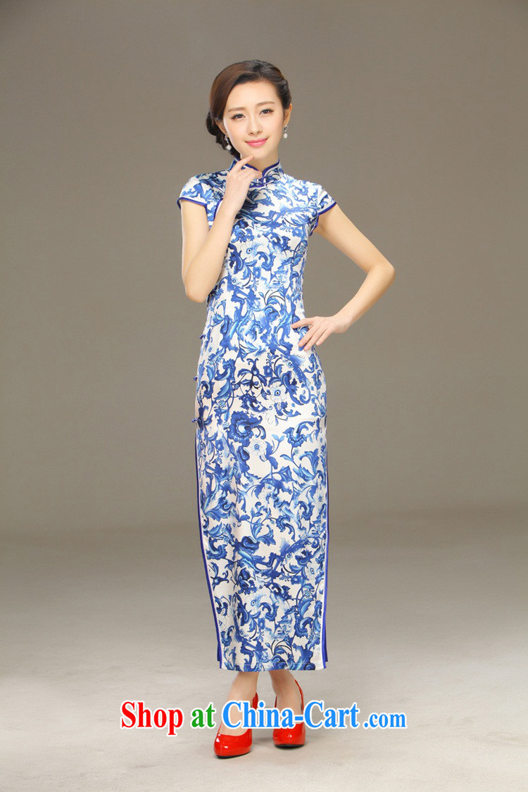 Slim li know blue, Classic Blue style Silk Dresses 2015 summer retro style beauty dresses QLZ Q 15 6052 green land XXL pictures, price, brand platters! Elections are good character, the national distribution, so why buy now enjoy more preferential! Health