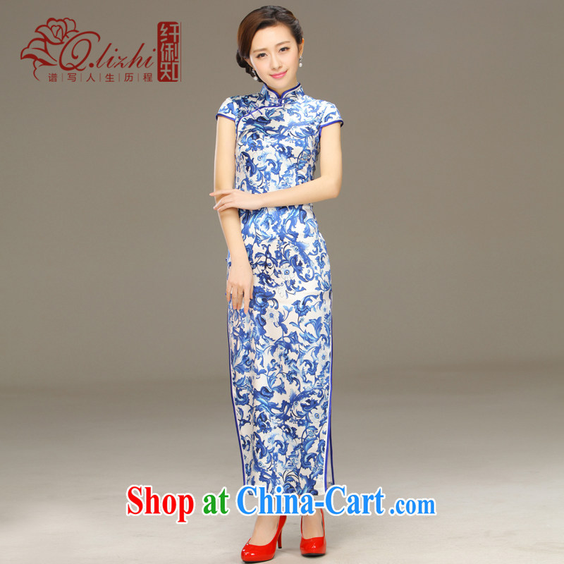 Slim li know about land Classic Blue aura Silk Dresses 2015 summer retro fashion beauty dresses QLZ Q 15 6052 green land XXL
