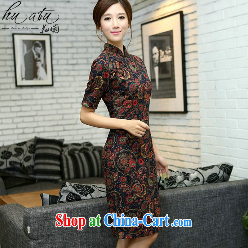 Take the Chinese wind summer female flax improvement for the cuff, manual and knee long cheongsam dress such as the color 2 XL