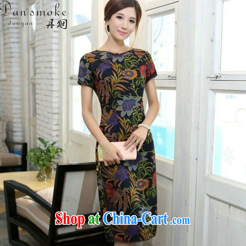 Bin Laden smoke, Mr Ronald ARCULLI, China wind short-sleeved Lotus round-collar linen, long manual tie stylish short-sleeve cheongsam dress such as the color 2 XL