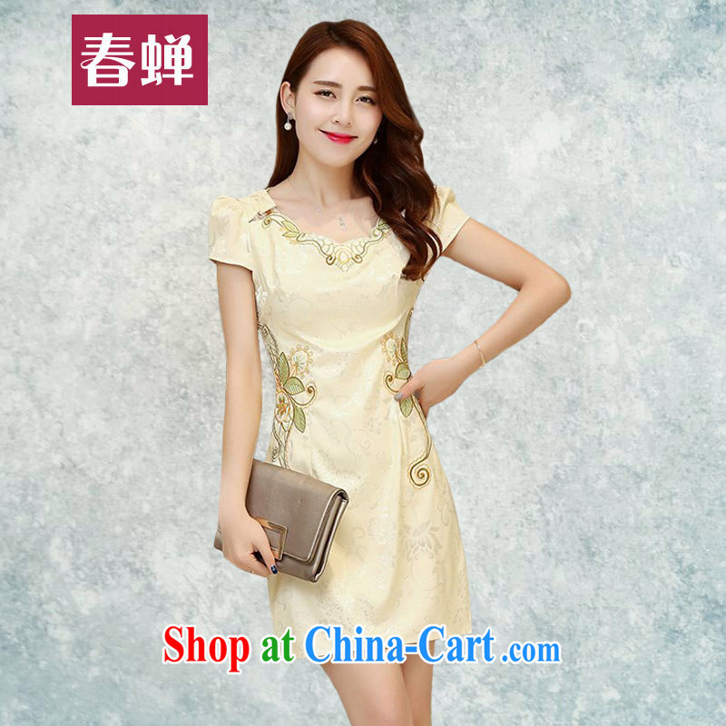 Silent Spring Summer 2015 new women daily improved short cheongsam with stamp duty retro lady package and cultivating dresses 9368 apricot XXL