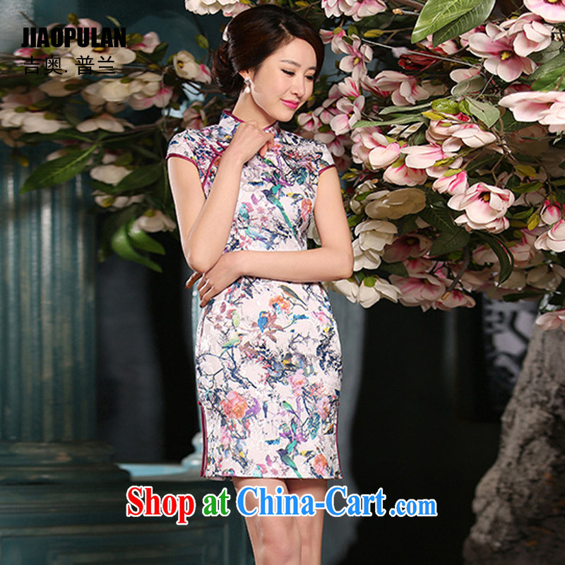 Mr. Kaplan 2015 spring and summer new cheongsam dress sober Beauty Fashion improved daily jacquard cotton robes short PL 307 photo color XXL