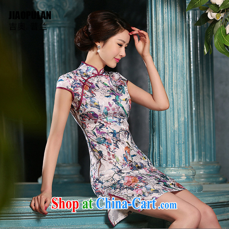 Mr. Kaplan 2015 spring and summer new cheongsam dress sober Beauty Fashion improved daily jacquard cotton robes short PL 307 photo color XXL, Mr. Kaplan (JIAOPULAN), shopping on the Internet
