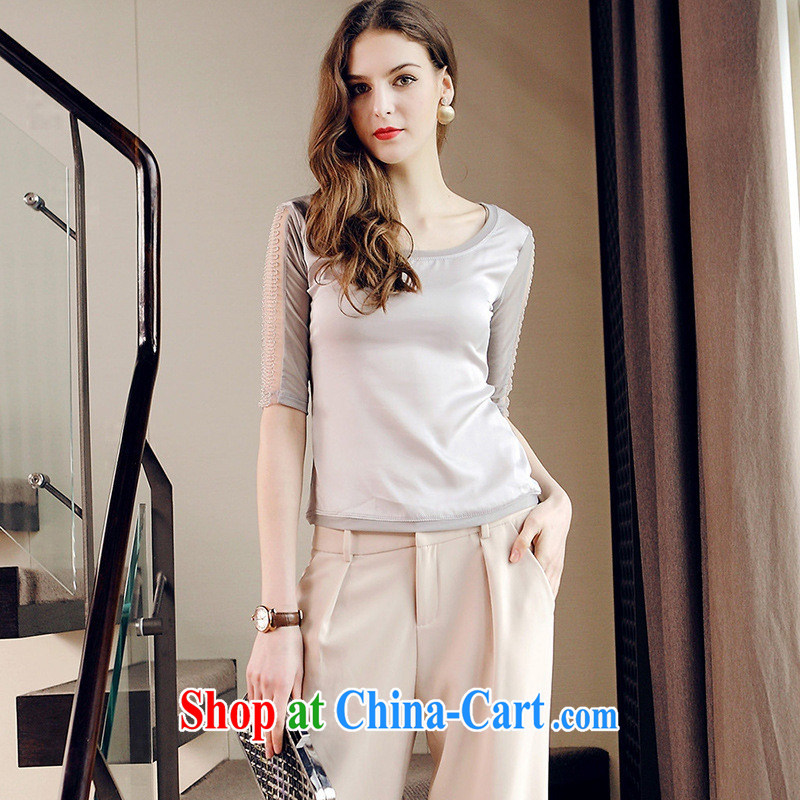 Ya-ting store European site 2015 spring and summer new women in cultivating cuff with a yarn stitching solid shirt WN 2588 silver XL