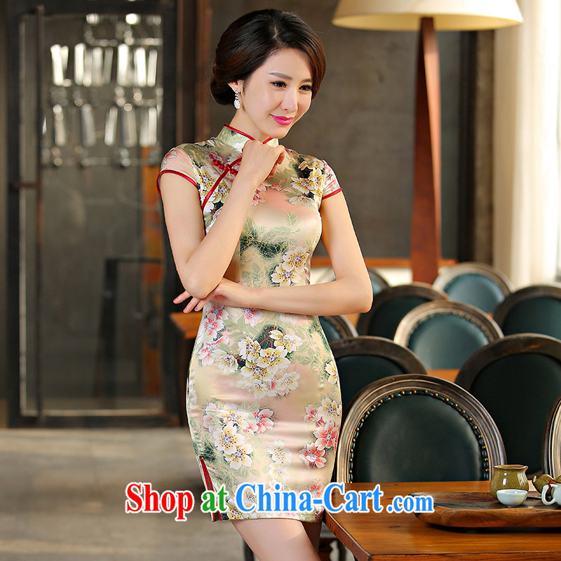 The Yee-sa a curtain Meng 2015 New Silk Cheongsam retro improved cheongsam dress summer dresses day dresses SZ S 2237 3XL