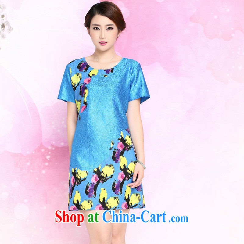 Forest narcissus summer 2015 New Silk wrinkled mother load loose larger Chinese Dress XYY - 8326 blue XXXL