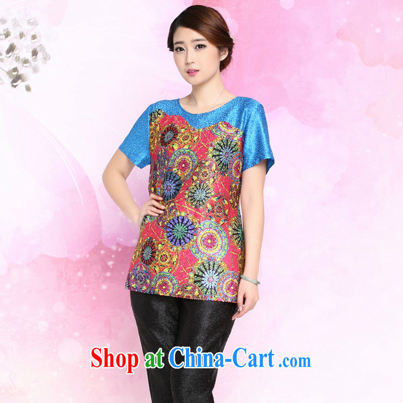 Forest narcissus summer 2015 new loose the code mom with silk wrinkled T-shirt Tang Replace T pension XYY - 8328 blue XXXL