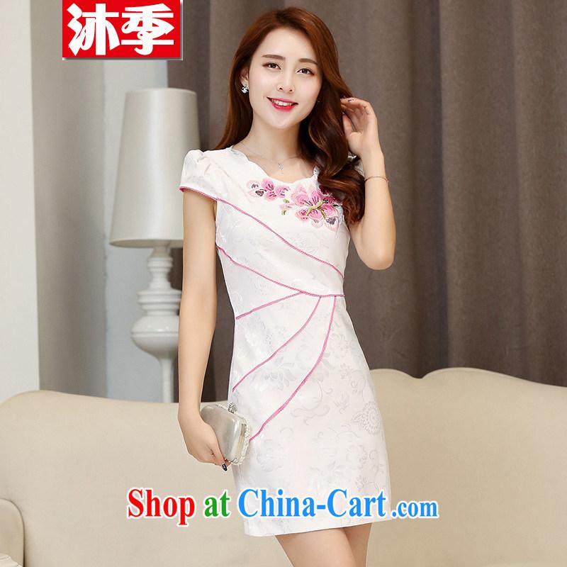 Mu season 2015 summer new female lace beauty fashion improved cheongsam dress retro style 1533 white red L