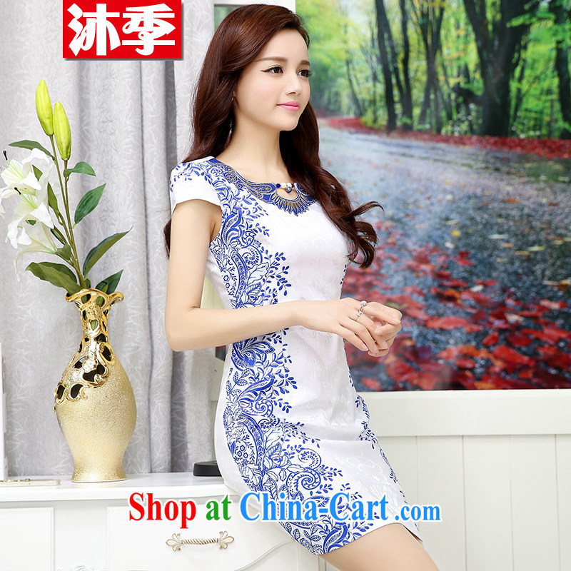 Mu summer season embroidered short sleeves cultivating improved cheongsam Chinese landscape paintings antique cheongsam dress girls 1559 Hester Prynne M
