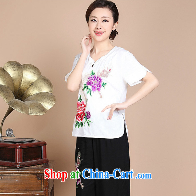 Forest narcissus summer 2015 new Peony embroidered hook take cotton mother load Tang on T-shirt FGR - A 272 white XXXL