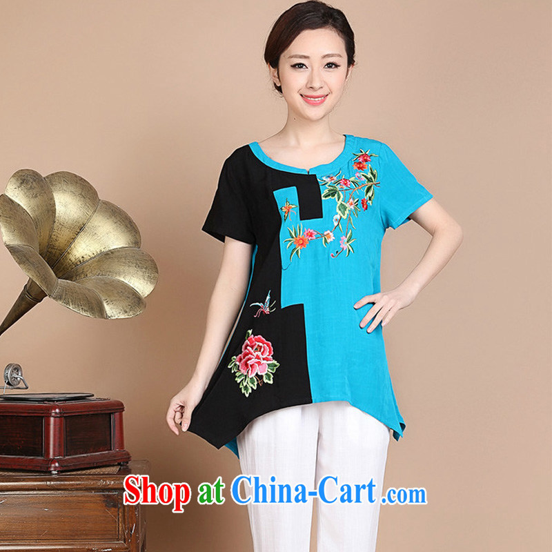 Forest narcissus summer 2015 new loose the code cotton embroidered Chinese elderly in T-shirt FGR - A 5356 blue XXXL