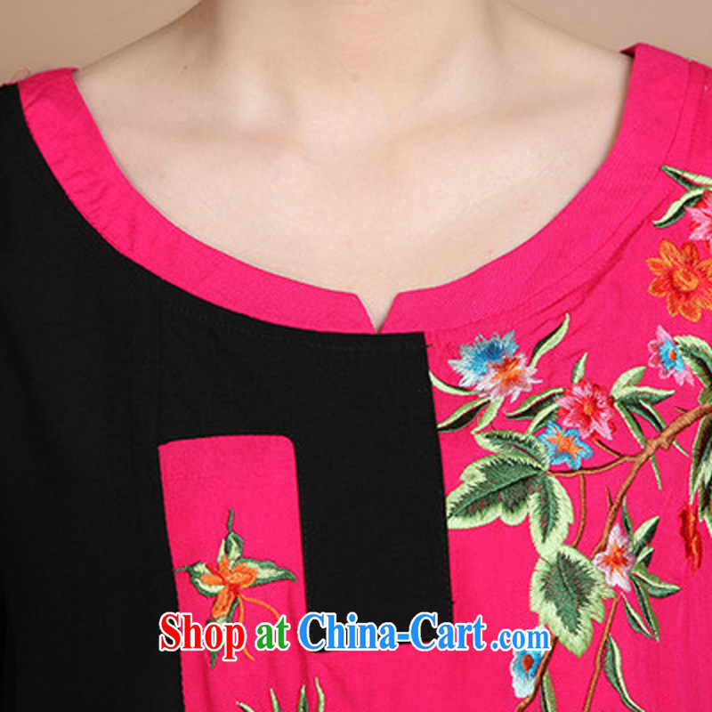 Forest narcissus 2015 summer on the new liberal larger cotton embroidered Chinese elderly in T-shirt FGR - A 5356 blue XXXL, forest narcissus (SenLinShuiXian), online shopping