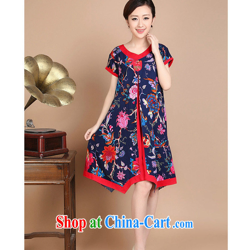 Forest narcissus summer 2015 new loose the code floral mom with Chinese Dress FGR - C 1128 - 1 blue XXL