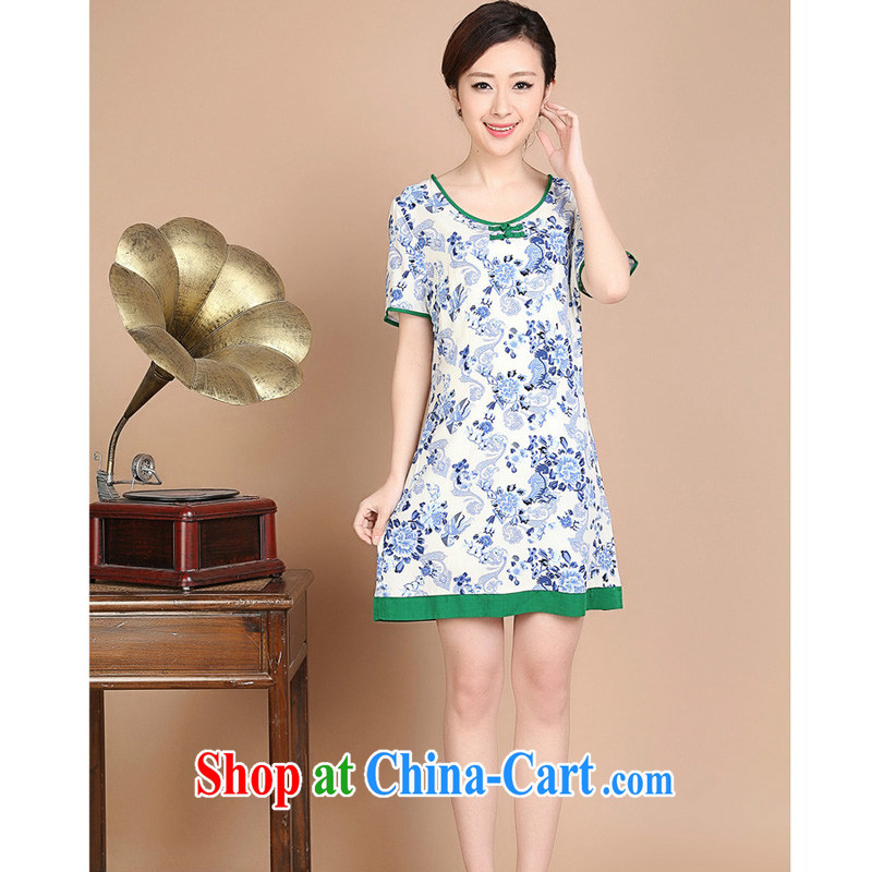 Forest narcissus 2015 summer on the new loose the code MOM decorated with a short-sleeved round neck with short dresses FGR - C 1129 blue and white porcelain XXL