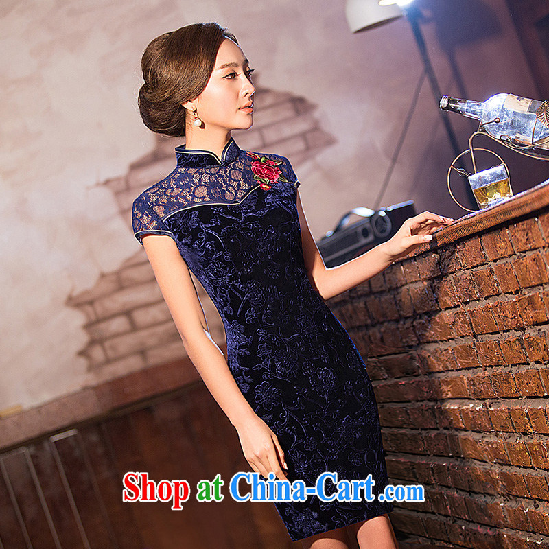 Love spell Fort Lauderdale 2015 new daily cheongsam dress summer stylish graphics thin beauty short, short-sleeved, collar lace banquet Chinese qipao dark blue XXL _98 _80 _102
