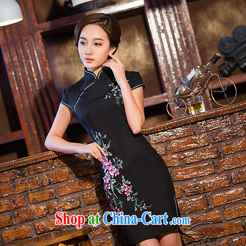 Love spell Fort Lauderdale 2015 new daily summer and stylish graphics thin beauty short, short-sleeved, for Chinese qipao dark blue XXL _98 _80 _102
