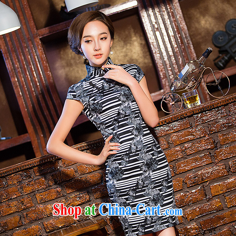 Love spell Fort Lauderdale 2015 new daily summer and stylish graphics thin beauty short, short-sleeved, for Chinese qipao zebra stripes XXL _98 _80 _102