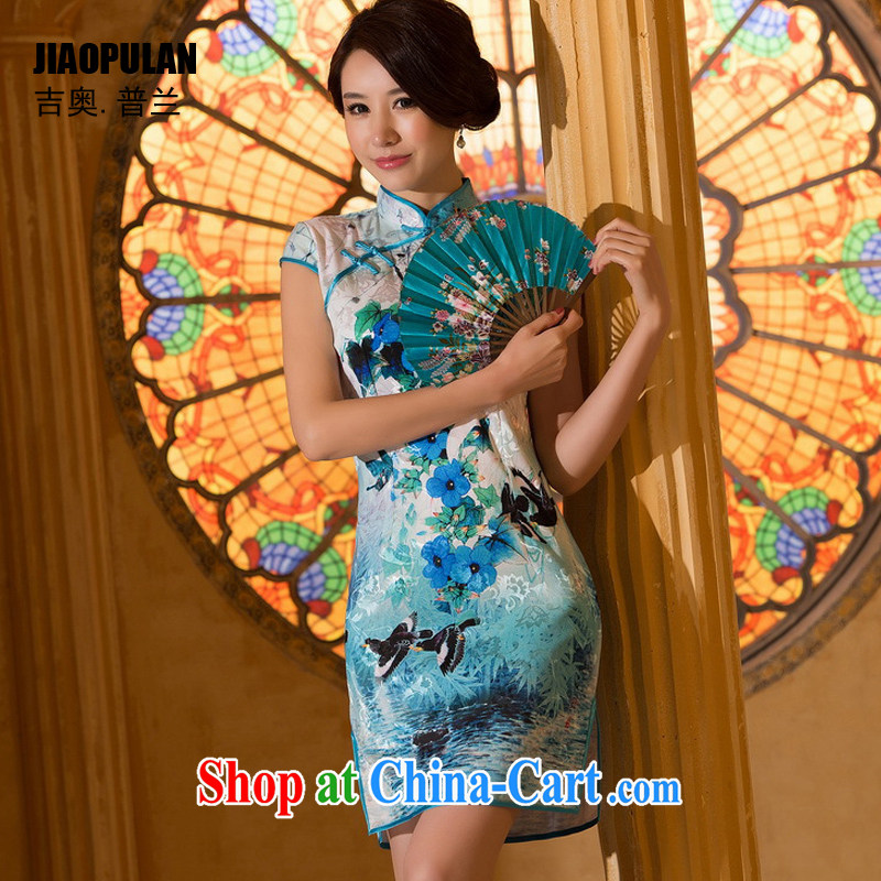 Mr. Kaplan 2015 spring and summer New China wind female daily fashion improved and elegant antique beauty short cheongsam PL 0310 photo color XXL