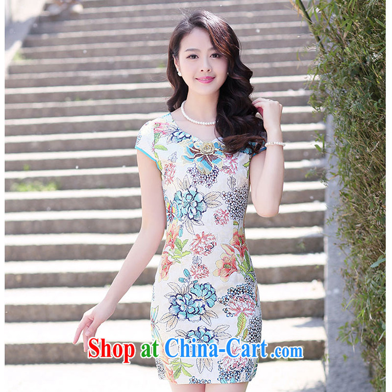 Summer 2015 new embroidery cheongsam dress girls improved daily packages and short-sleeved-waist stamp dresses 1505 m bottom take XXL