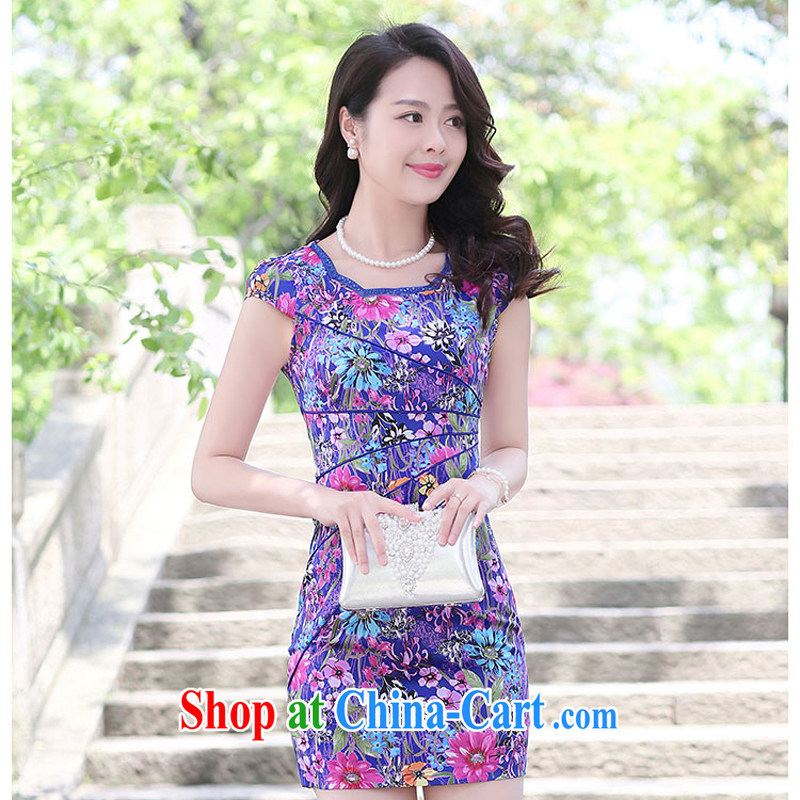 Summer 2015 new embroidery cheongsam dress girls improved daily package and a short-sleeved waist-stamp dresses of 1506 the small virgin XXL