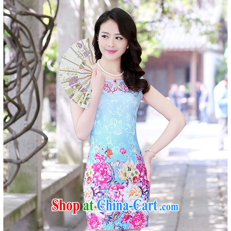 2015 new summer embroidery embroidery cheongsam stylish package beauty skirt daily improved cheongsam dress Ethnic Wind 1508 blue Peony XXL