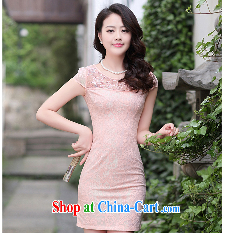 Improved stylish summer short 2015 NEW GRAPHICS thin lace cheongsam dress daily retro dress dress 1511 pink XXL