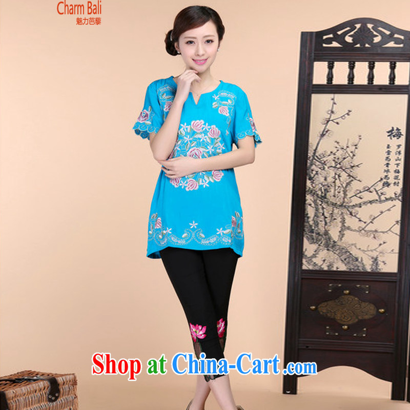 Barbie charm and Asia 2015 summer beauty antique embroidered Chinese short-sleeved round-collar short-sleeve, long T-shirt solid pants two piece set blue T-shirt XXXL