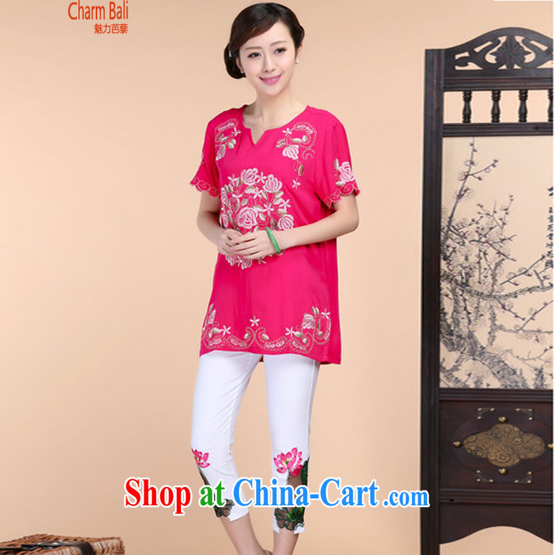 2015 summer beauty antique embroidered Chinese short-sleeved round-collar short-sleeve, long, solid color T-shirt pants two piece set with the red T-shirt XXL