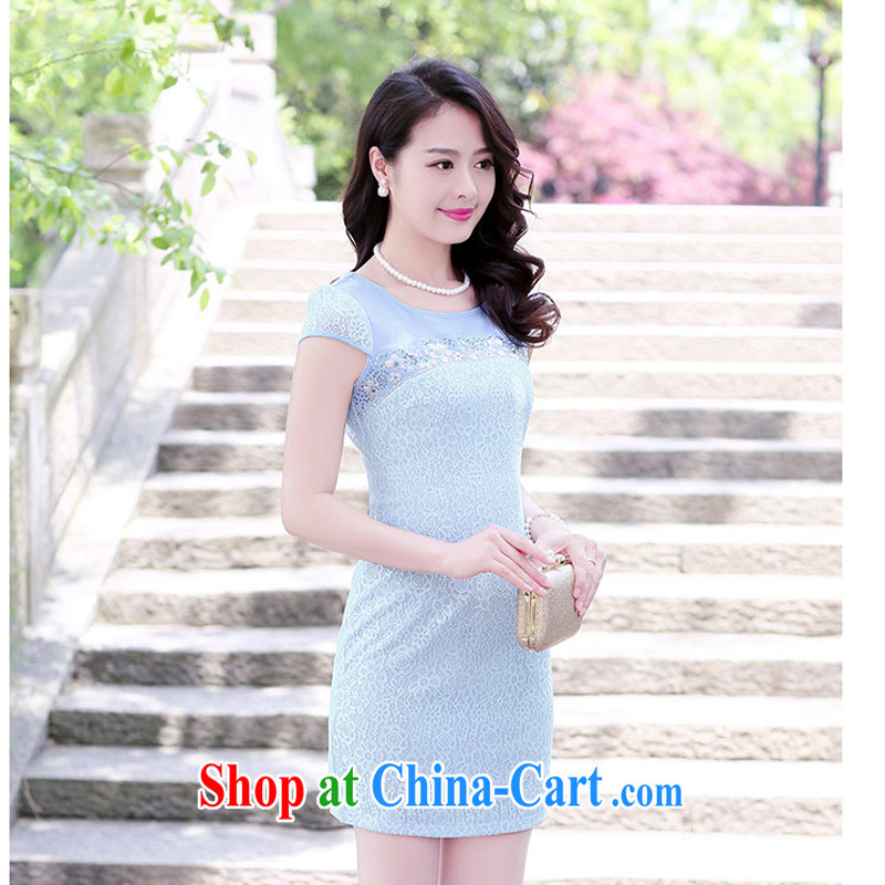 2015 new short beauty sexy style female lace cheongsam dress retro improved daily fashion Spring Summer 1513 blue XXXL
