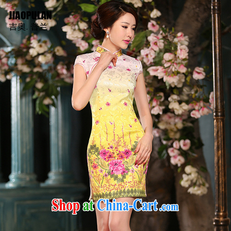 Mr. Kaplan 2015 spring and summer new women who decorated jacquard cotton short cheongsam dress improved cheongsam stylish retro PL 310 yellow XXL