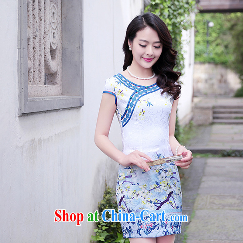 2015 new dresses and retro dresses short stylish improved dress female burglary summer Beauty Day 1515 blue plum XXL