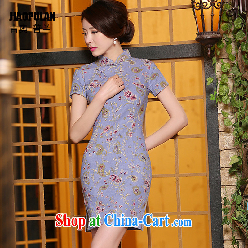 Mr. Kaplan 2015 spring and summer new retro improved stylish ethnic wind Korea arts cotton Ma short cheongsam dress female PL 312 photo color XXL