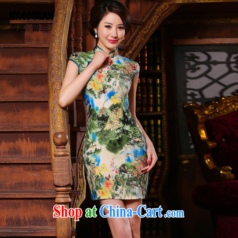 Mr. Kaplan 2015 spring and summer New Paragraph Style Ethnic Wind girls with high-end painting beauty retro improved short cheongsam PL 313 photo color XXL