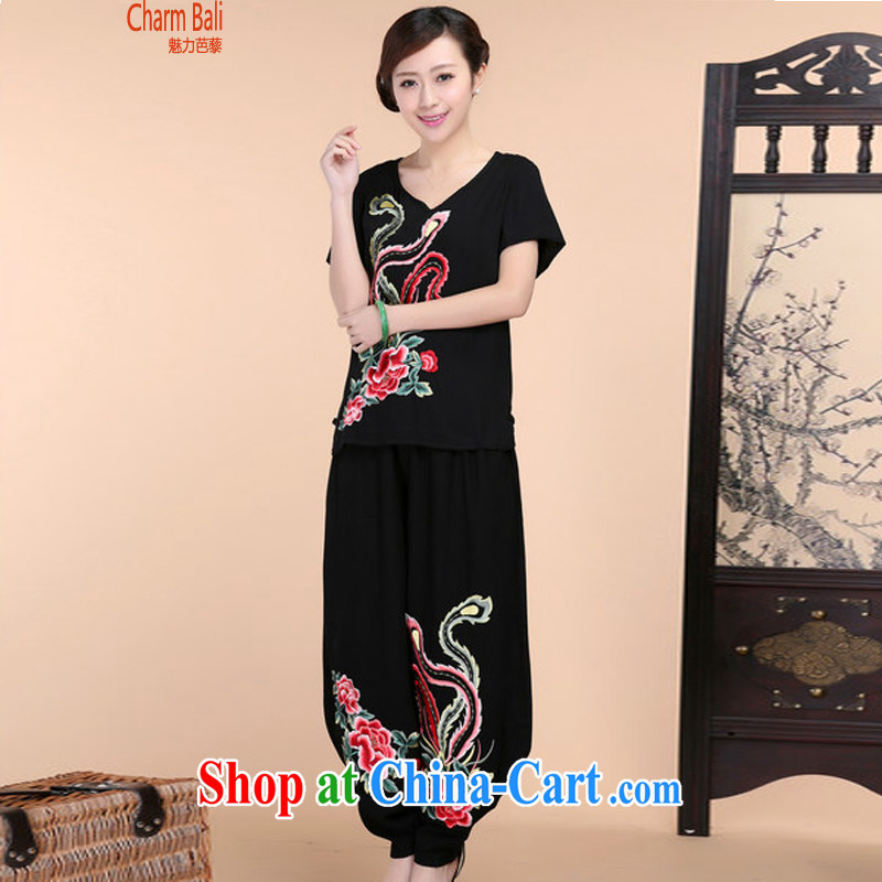 2015 summer beauty antique embroidered Chinese short-sleeved V collar short-sleeve T-shirt loose pants two piece set Black Kit XXXL