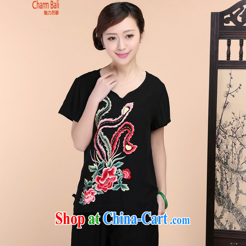 Hip Hop charm and Asia 2015 summer beauty antique embroidered Chinese short-sleeved V collar short-sleeve T-shirt loose pants two piece set with black T-shirt XL