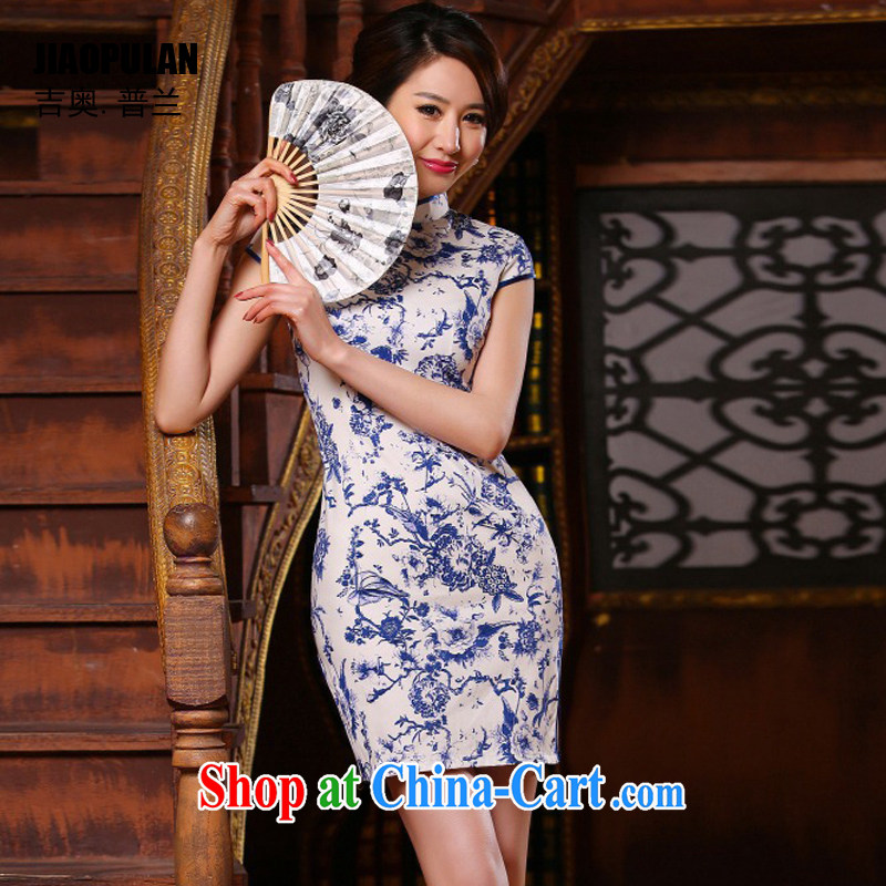 Mr. Kaplan 2015 spring and summer new, improved cultivation and stylish Art Nouveau porcelain was short cheongsam dress dress dress PL 314 photo color XXL