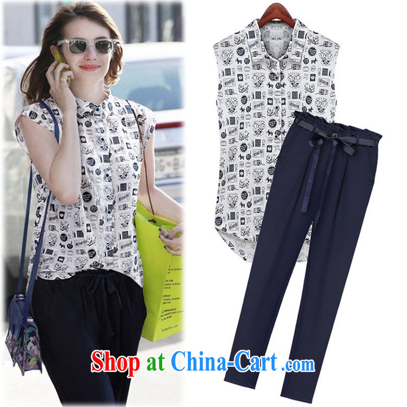 European and American women 2015 summer new stamp lapel sleeveless shirts, trousers long trousers two piece F 155 shirt +, trouser press kit XL