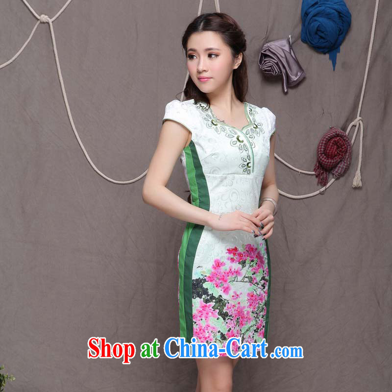 The US, Stephen D Ethnic Wind stylish Chinese qipao dress daily retro beauty graphics build cheongsam FF 033 mlf 9906 dresses cheongsam green XL