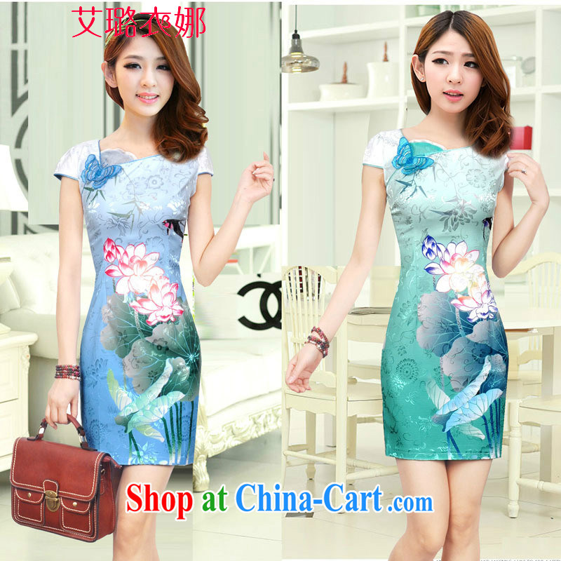 The opportunity of clothing 2015 new dresses stylish Lotus the gradient improved fashion cheongsam dress summer Beauty Fashion Color Blue XL