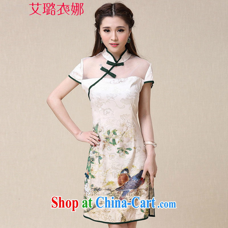 The opportunity of Tsing Yi 2015 spring and summer New China wind National wind beauty dresses cheongsam dress Map Color XXL