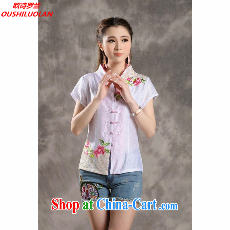 The poem, Ethnic Wind 2015 new Peony embroidery Chinese, summer/Chinese improved short-sleeved T-shirt outfit #7299 white XXL