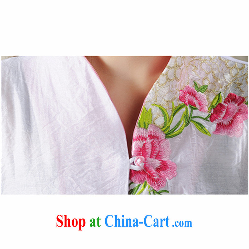 The poem, Ethnic Wind 2015 new Peony embroidery Chinese, summer/Chinese improved short-sleeved T-shirt outfit #7299 white XXL, the poetry, and, shopping on the Internet