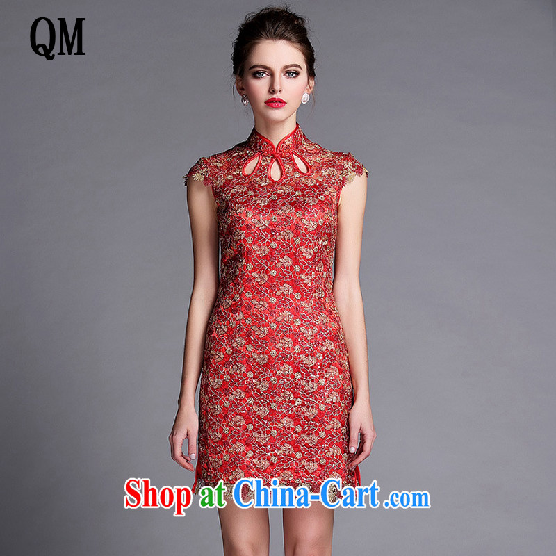 Very late marriage improved bows stylish dress lady beauty sleeveless short cheongsam dress XWG 140,501 red XXL