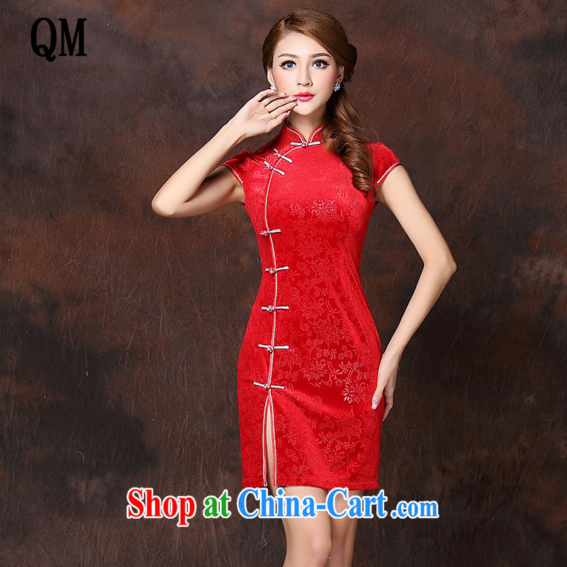Shallow end improved Stylish retro unilateral on Ms. lao daily wool short cheongsam XWG 141,022 red XXXXL