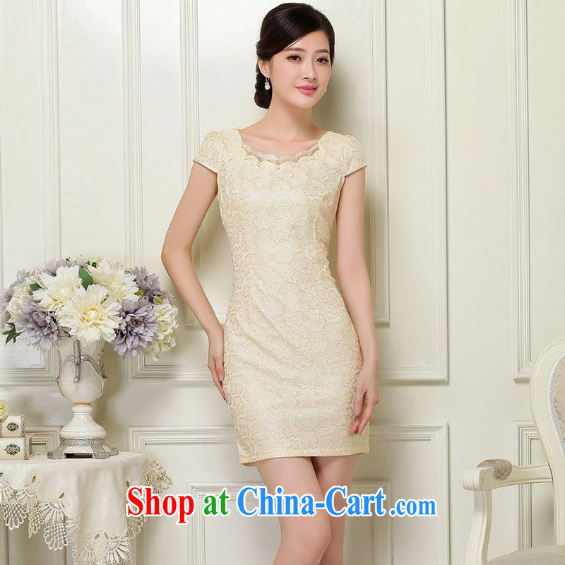 Forest narcissus summer 2015 new lady improved cheongsam lace short sleeve does not rule with cultivating short cheongsam Chinese JAYT - 37 apricot XL