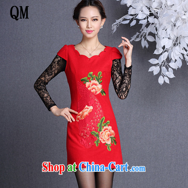 light at the improved stylish Ethnic Wind embroidered wool is solid dresses skirts ladies XWG 13,054 red XXL