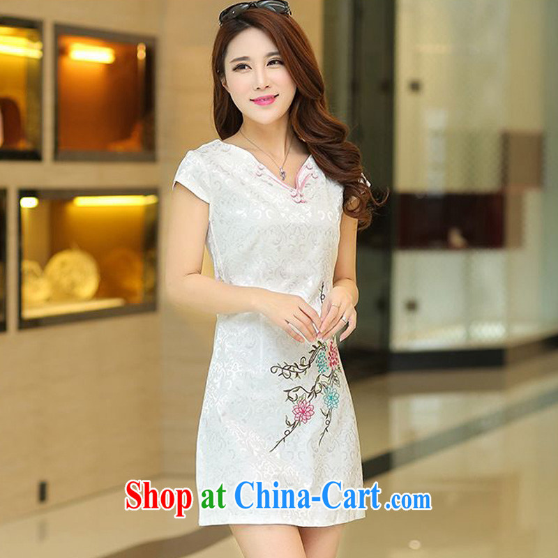 Forest narcissus summer 2015 new special retro V collar jacquard floral embroidery cultivating short cheongsam Chinese JAYT - 35 white XL