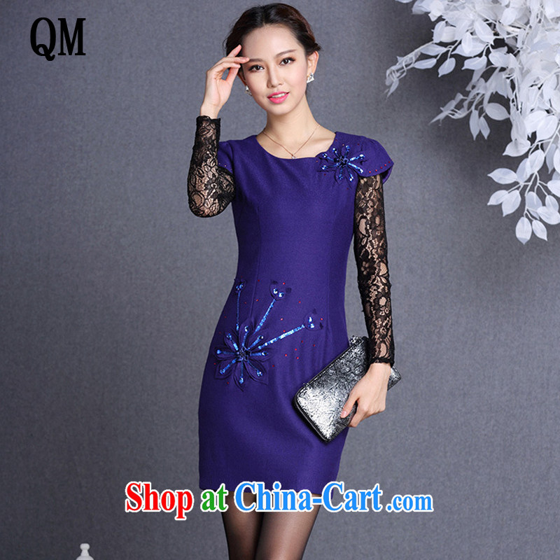 light at the improved fashion? spend three-dimensional short cheongsam stylish three-dimensional flowers, short cheongsam XWG 819 Po blue XXL