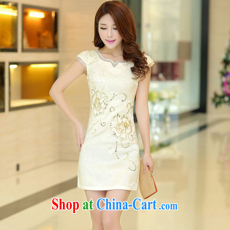 Forest narcissus summer 2015 new lady fashion improved cheongsam lace round-collar, flower cultivation short cheongsam Chinese JAYT - 32 apricot XL