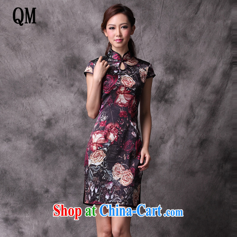 Shallow end silk stylish improved cheongsam short antique Chinese standard counters flag XWG 1208 - 14 Map Color XXL